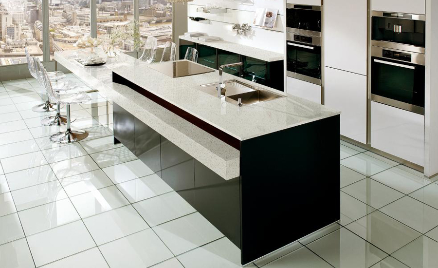 quartz man-made stone kitchen countertops blizzard
